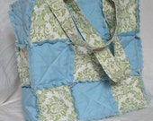 SALE Price as marked*** Rag Patchwork Bag in Green Damask with Cottage Blue
