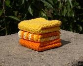 Sunrise Orange and Yellow Dischloths Set of 3