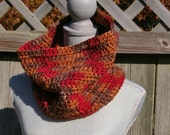 Autumn Cowl Neck Warmer in Fall Colors Green, Brown, Coral Red