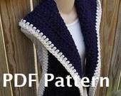 Hooded Scarf Crochet Pattern Chunky PDF