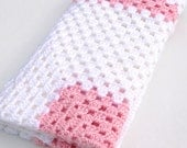 Baby Blanket Baby Girl Afghan in Pink and White Granny Square Crochet