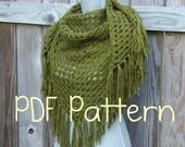 Crochet Pattern, Crochet Shawl Pattern, Triangle Scarf Pattern, Instant Download PDF