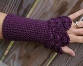 Lace Arm warmers Crochet Fingerless Gloves Crochet Armwarmers in Phlox Purple Peacock Pattern