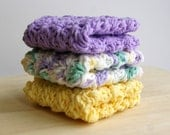 Spring Dish Cloths in Lavender Purple and Yellow Cotton Crochet Set of 3
