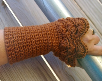 Arm warmers Fingerless Gloves in Copper Brown Hand Crocheted