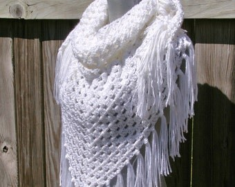 Crochet Shawl Triangle Scarf in White Hand Crocheted