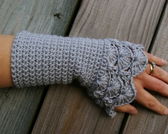 Crochet Arm Warmers Fingerless Gloves in Silver Grey