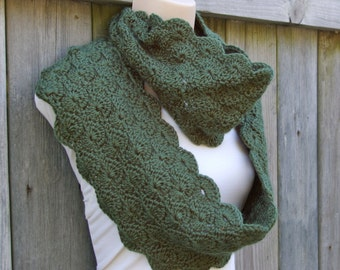 Infinity Scarf Circle Scarf in Sage Green Crochet