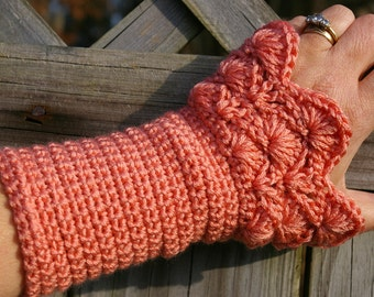 Arm warmers Fingerless Gloves in Tangerine Coral Hand Crocheted