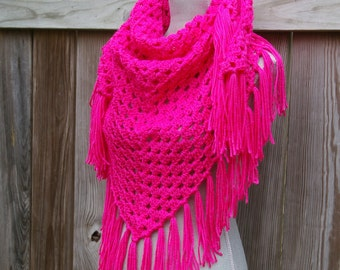 Triangle Scarf Crochet Shawl in Raspberry Pink