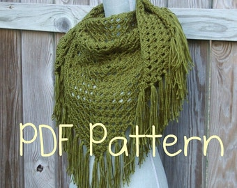 Crochet Pattern, Crochet Shawl Pattern, Triangle Scarf Pattern, Instant Download PDF