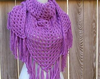 Crochet Shawl Crochet Triangle Scarf in Berry Purple