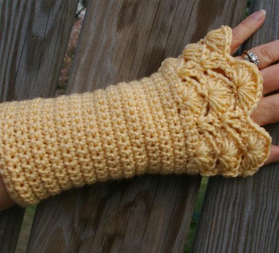 Arm Warmers in Lemon Zest Pale Yellow Hand Crocheted