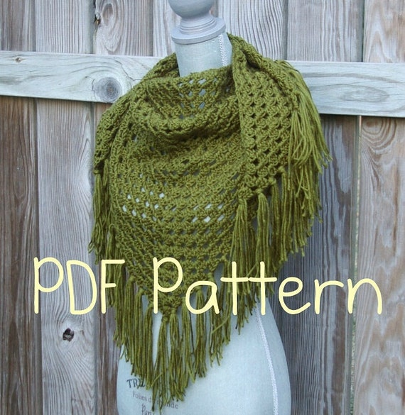 Crochet Pattern, Crochet Shawl Pattern, Triangle Scarf Pattern ...