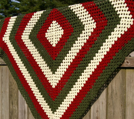Crochet Afghan Patterns Christmas : Items similar to Crochet Afghan Blanket Granny Square in ...