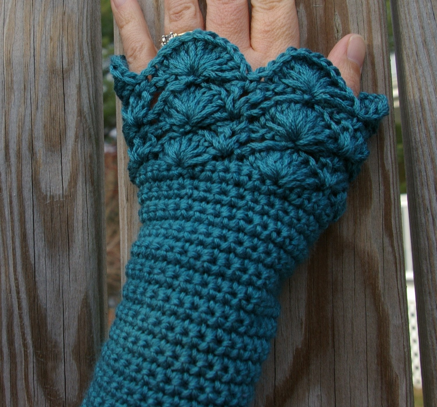 Crocheting With Arms : Crochet Arm Warmers Fingerless Gloves in Teal by CandacesCloset