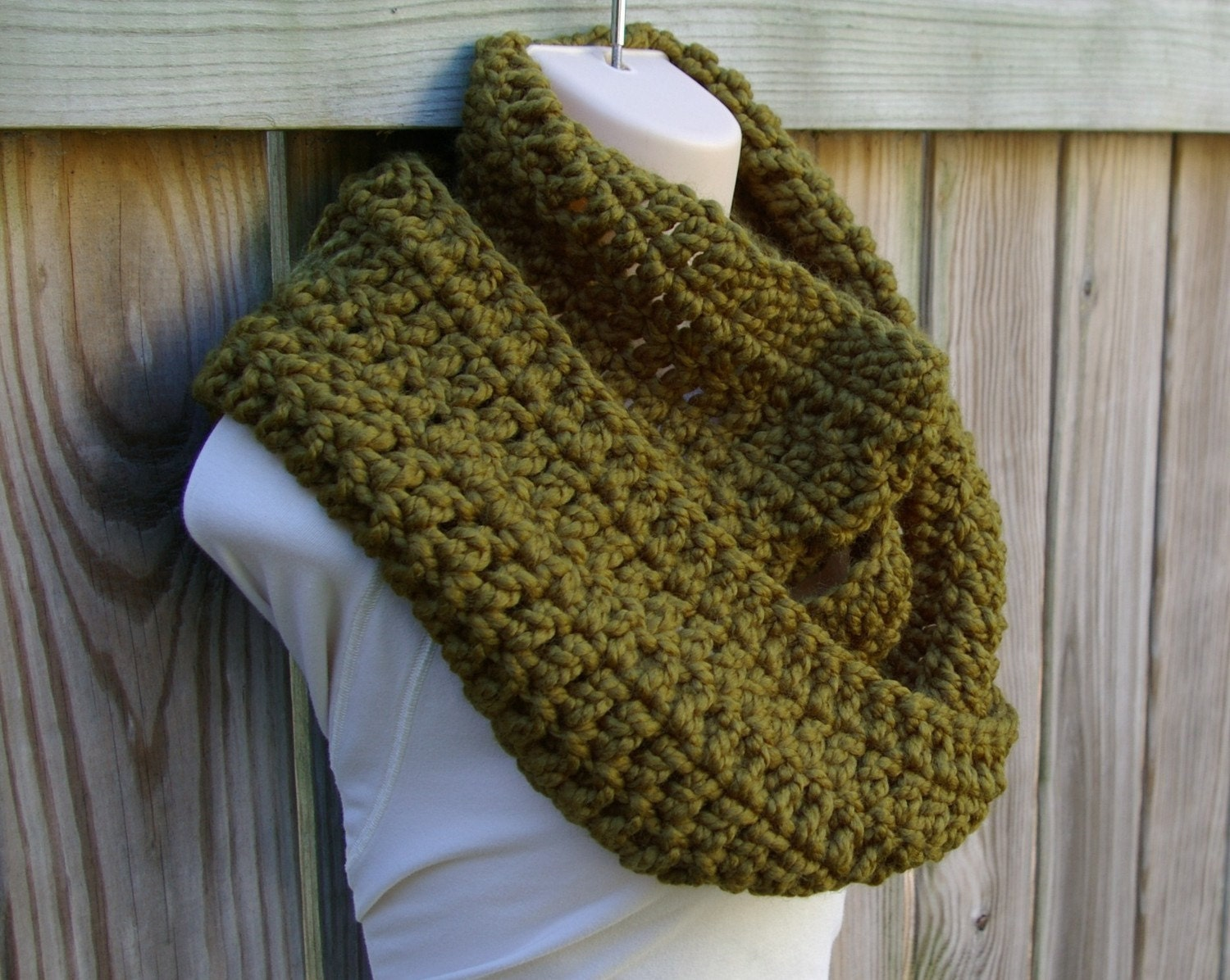 Olive Green Plaid Scarf Cowl Scarf in Olive Green
