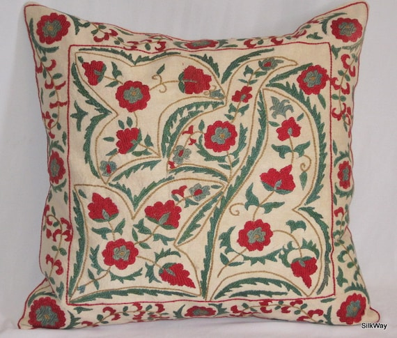 18x18 Fully  handmade silk embroidery beautiful Uzbek pillow cover