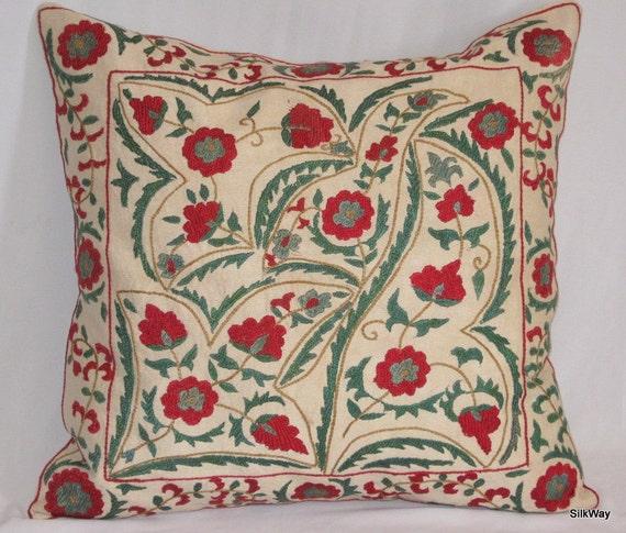 18x18 Fully  handmade silk embroidery beautiful Uzbek pillow cover