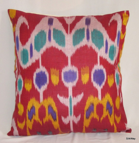 18x18 Silk cotton Uzbek Ikat Pillow case - handloom ikat fabric and hand dyed
