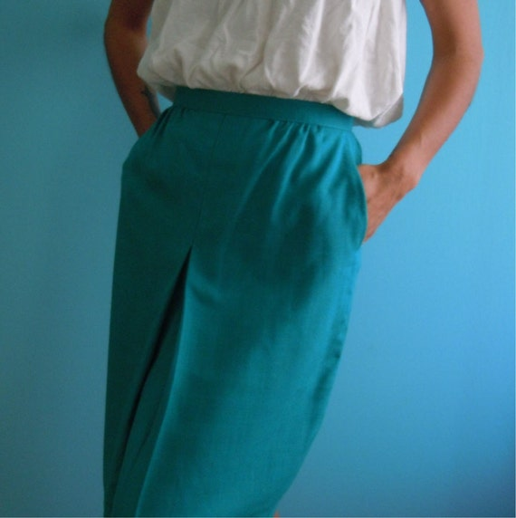 reserved / vintage 80's teal / green high waisted skirt