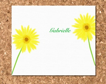 Note Cards- Yellow Gerbera Daisy Eco Friendly (Set of 8 Flat)