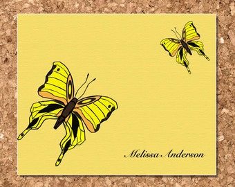 Personalized Blank Note Cards Set - Butterfly Design (8 Flat)