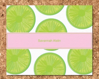 Eco Friendly Note Cards- Lime Slices (Set of 8 Flat)