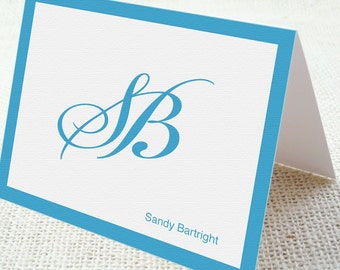 Personalized Blank Note Cards -  Eco Friendly Cursive Monogram (Set of 6 Folded)