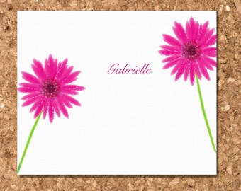 Eco Friendly Note Cards- Pink Gerbera Daisy (Set of 8 Flat)
