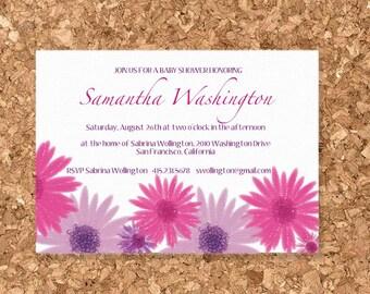Printable Digital Modern Pink and Purple Daisy Invitation Kit (DIY Wedding, Baby Shower, or Birthday)