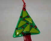 Green Glass basic shapes Christmas tree ornament