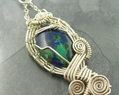 Azurite, Malachite, Lapis, Wire Wrapped Pendant -- Gaia --