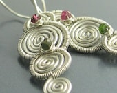 Tourmaline and Sterling Silver Spiral Earrings