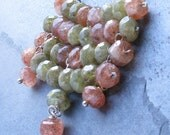 RESERVED for Call Sign Chiroptera USAF ret. --- Sunstone, Green Garnet, Sterling Silver, Wire Wrapped Necklace - Heart Shield
