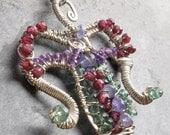 Tanzanite, Chrome Diopside, Amethyst, Garnet, Sterling Silver, Wire Wrapped Goddess Necklace  - LunaOra -