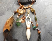RESERVED for Kim:    Sea Glass, Obsidian, Turquoise, Serpentine, Carnelian, Feather  Goddess Necklace  - Spirit Caller -