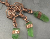 California Sea Glass, Copper, Stamped Wire Wrapped Necklace  - Here, Now, Yes