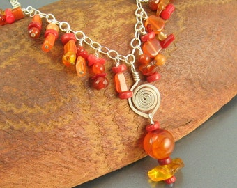 Warm Embrace - Carnelian, Aventurine, Amber,  Coral and Sterling Silver Necklace - Gem Cascades Series