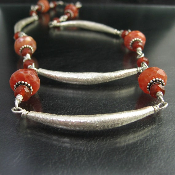 Crab Fire Agate, Carnelian, Karen Hill Tribe Fine Silver Necklace -- Double Take --