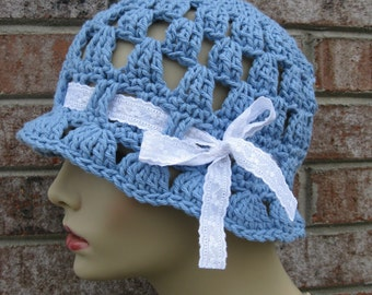 The Cloche Hat Vintage look, Sun Hat Floppy Beach Hat in Blue or CHOICE YOUR COLOR, Sun Hat, Floppy Hat, Crochet Knit Hat, Spring Summer Hat