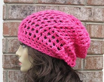 Slouchy Beanie Hat in Hot Pink all season Fashion Womens Men Urban Casual Bohemian Tam Beret The Perfect Travel Hat Cozy Slouchy Beanie Hat