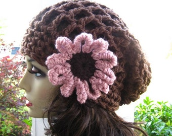 HAT Slouchy Beanie Hat with Flower / BEANIE Hat Slouch / All Season Cozy Spring Summer Hat / Slouchy handmade by Malasa / Beanie Chemo Hat