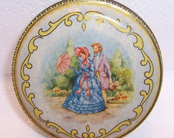 Vintage Tin Made in England, Romantic Couple on Lid, Yellow base color