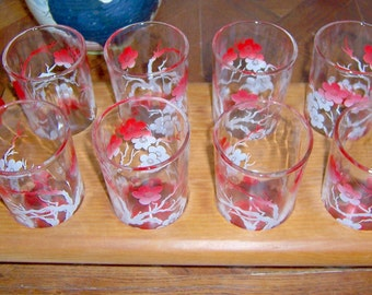 Barware Set of 8 FEDERAL GLASS CO. 8 Fluid Ounces, Coral Pink Floral Drinking Glass Tumblers with Painted Red Wooden Caddy 1930s 1940s
