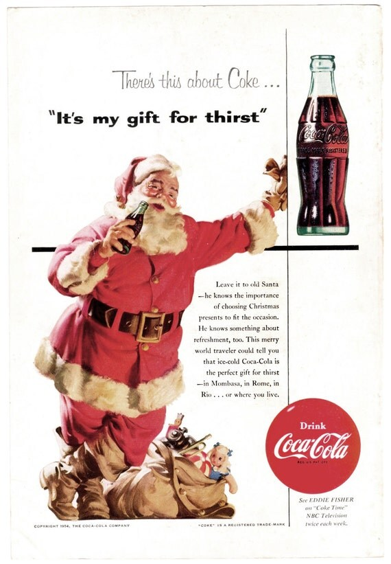 Santa and COCA COLA COKE Vintage 1954 Christmas Ad - Original Back Cover from National Geographic Magazine