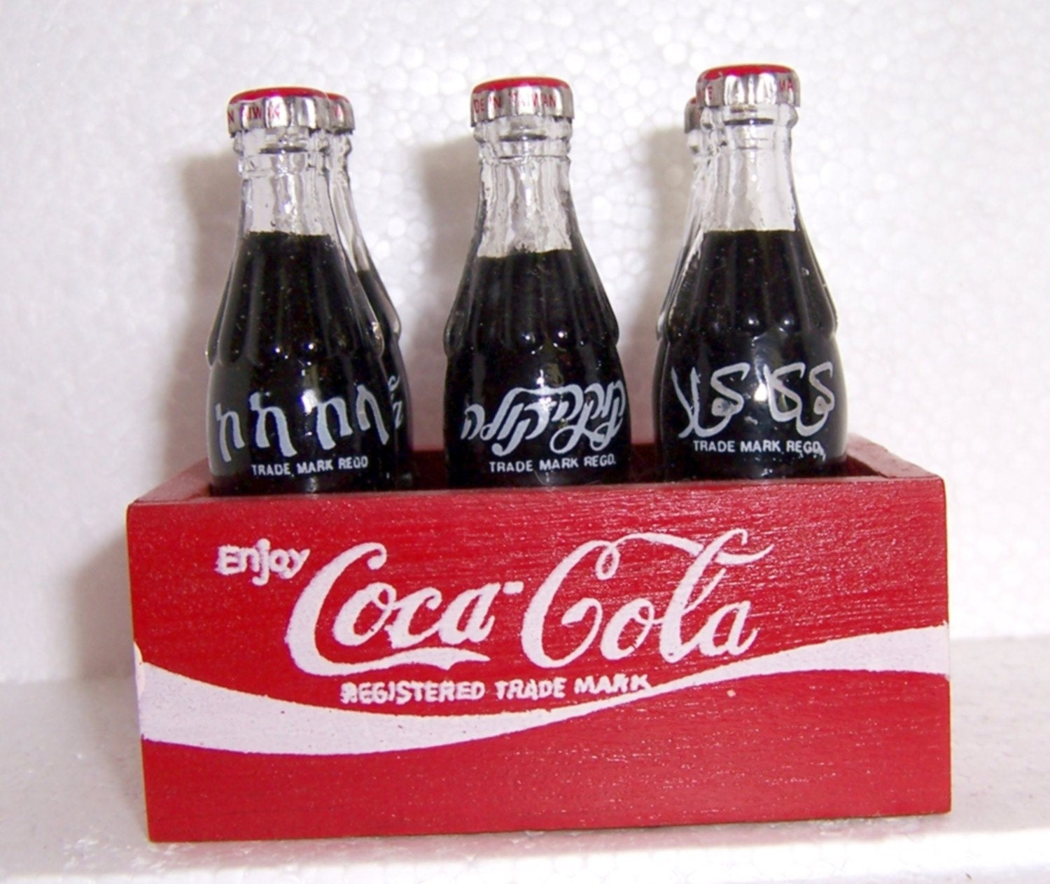 Vintage Miniature Coca Cola Wooden Crate With 6 Coke Bottles