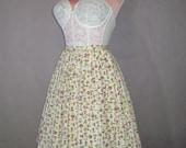50s skirt 1950s vintage MUSHROOM NOVELTY PRINT cotton pleated full skirt