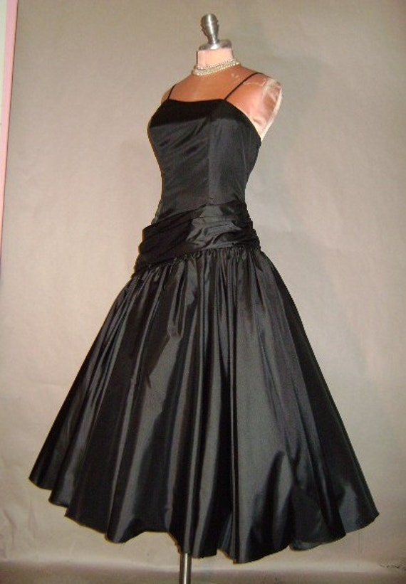 80s dress vintage 1980s BLACK TAFFETA 50s inspired asymmetrical drop waist party formal prom evening Holiday cocktail dress