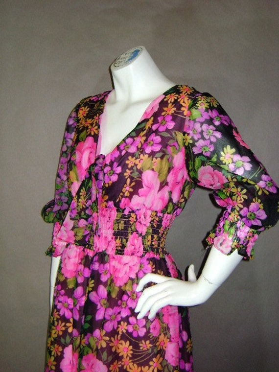 70s dress 1970s vintage SHOCKING PINK ROSES chiffon bright neon floral party goddess hippie glam maxi dress